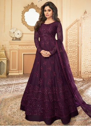 Net Violet Embroidered Anarkali Salwar Suit