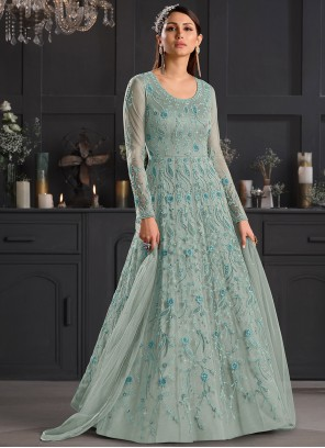 Sea Green Net Wedding Anarkali Salwar Suit