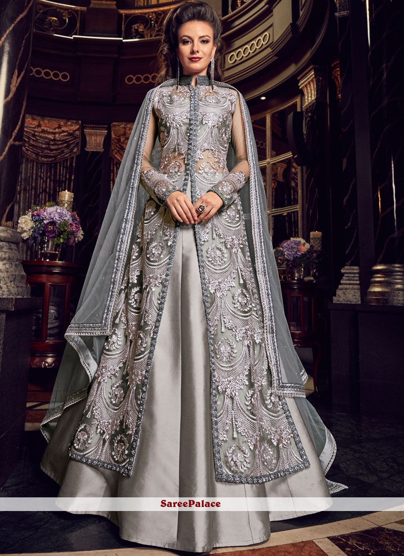Grey Net Wedding Long Choli Lehenga