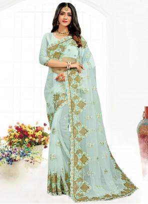 Aqua Blue Net Aari Work Wedding Trendy Saree