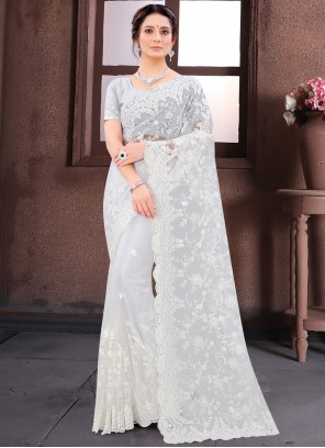 Net White Embroidered Classic Saree