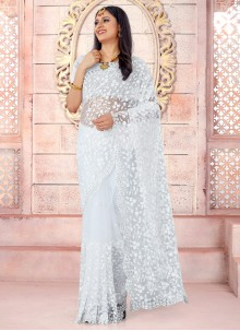 Net White Embroidered Traditional Saree