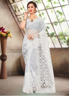 Net White Resham Traditional Designer Saree
