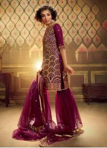 Net Wine Sequins Trendy Palazzo Suit