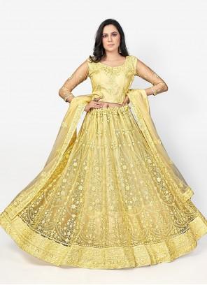 Net Yellow Embroidered Lehenga Choli