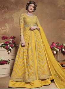 Net Yellow Fancy Floor Length Anarkali Suit