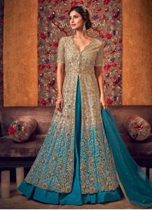 Net Zari Cream and Turquoise Trendy Anarkali Salwar Kameez