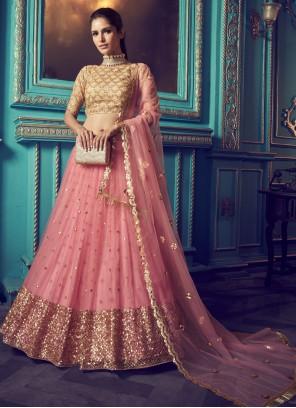 Net Zari Pink Trendy Lehenga Choli