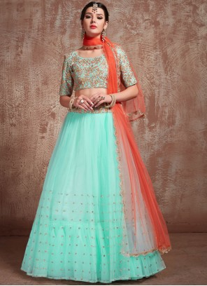 Net Zari Trendy Lehenga Choli in Turquoise