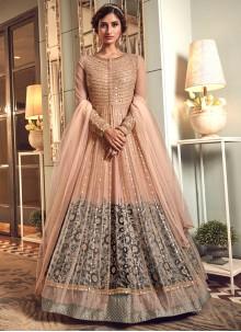 Net Zari Trendy Long Length Anarkali Suit in Grey and Peach