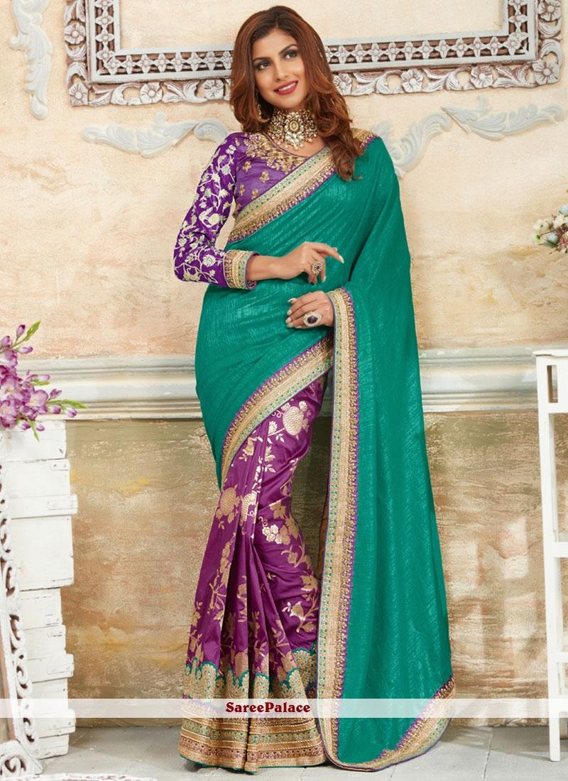 Nice Green and Purple Art Silk Traditional Designer Saree