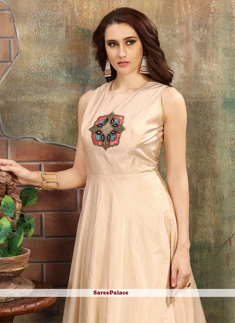 Buy Nice Silk Hand Work Work Cream Gown Online