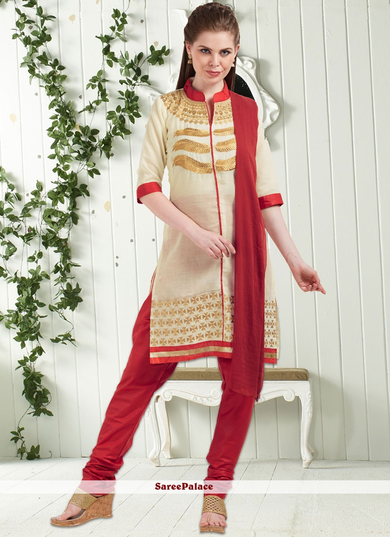 69babcd7119 Buy Noble Cotton Cream Embroidered Work Churidar Suit Online