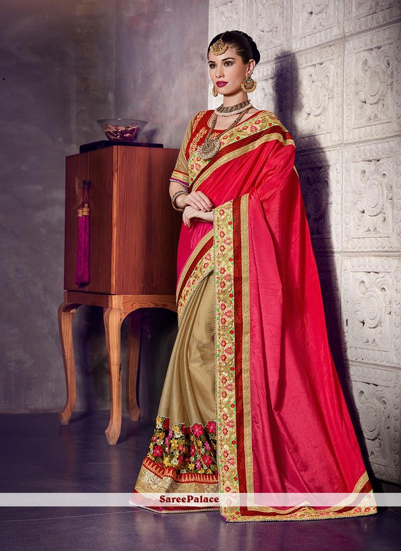 Noble Embroidered Work Designer Half N Half Saree