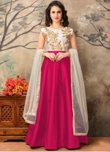 Noble Magenta Tafeta silk Floor Length Anarkali Suit