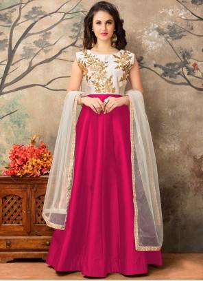 Noble Magenta Tafeta silk Floor Length Anarkali Suit