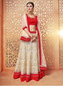 Noble Off White Net Lehenga Choli