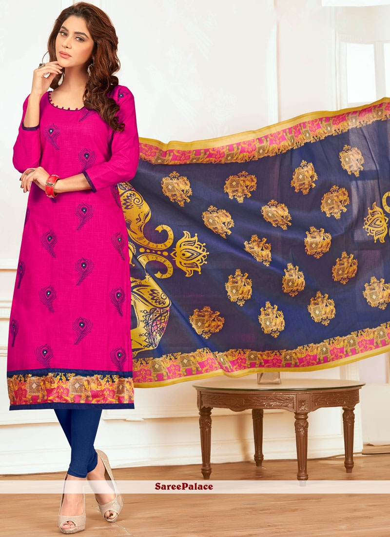 e757a18b6f8 Buy Noble Print Work Hot Pink Churidar Suit Online