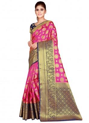 Nylon Pink Classic Saree