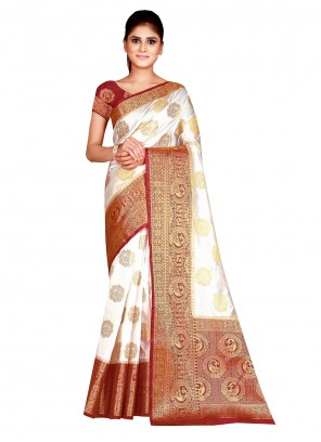 Nylon Weaving Off White Traditional Designer Saree