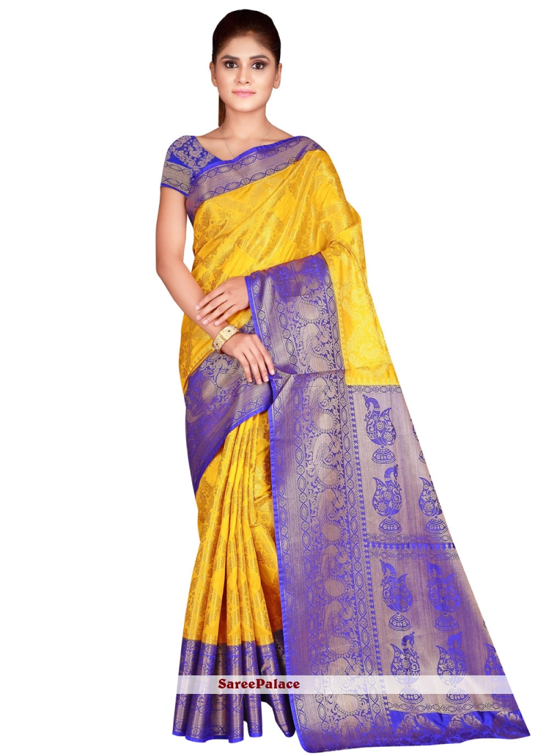 Yellow Nylon Weaving Traditional Designer Saree