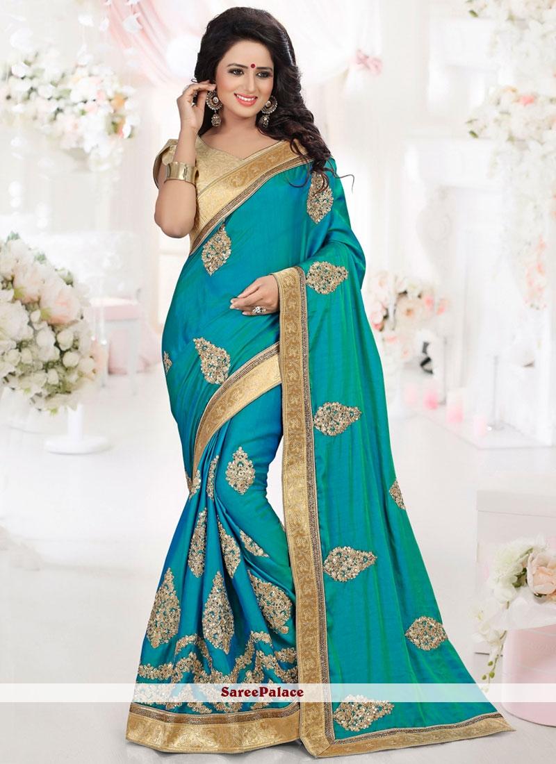 Observable Art Silk Embroidered Work Designer Traditional Saree
