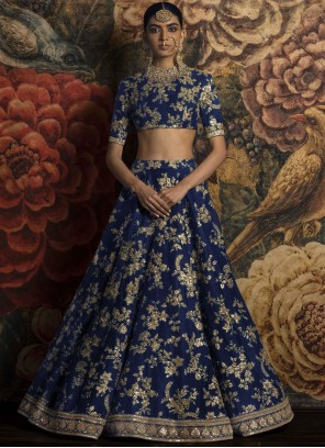 Observable Blue Zari Work Banglori Silk Lehenga Choli