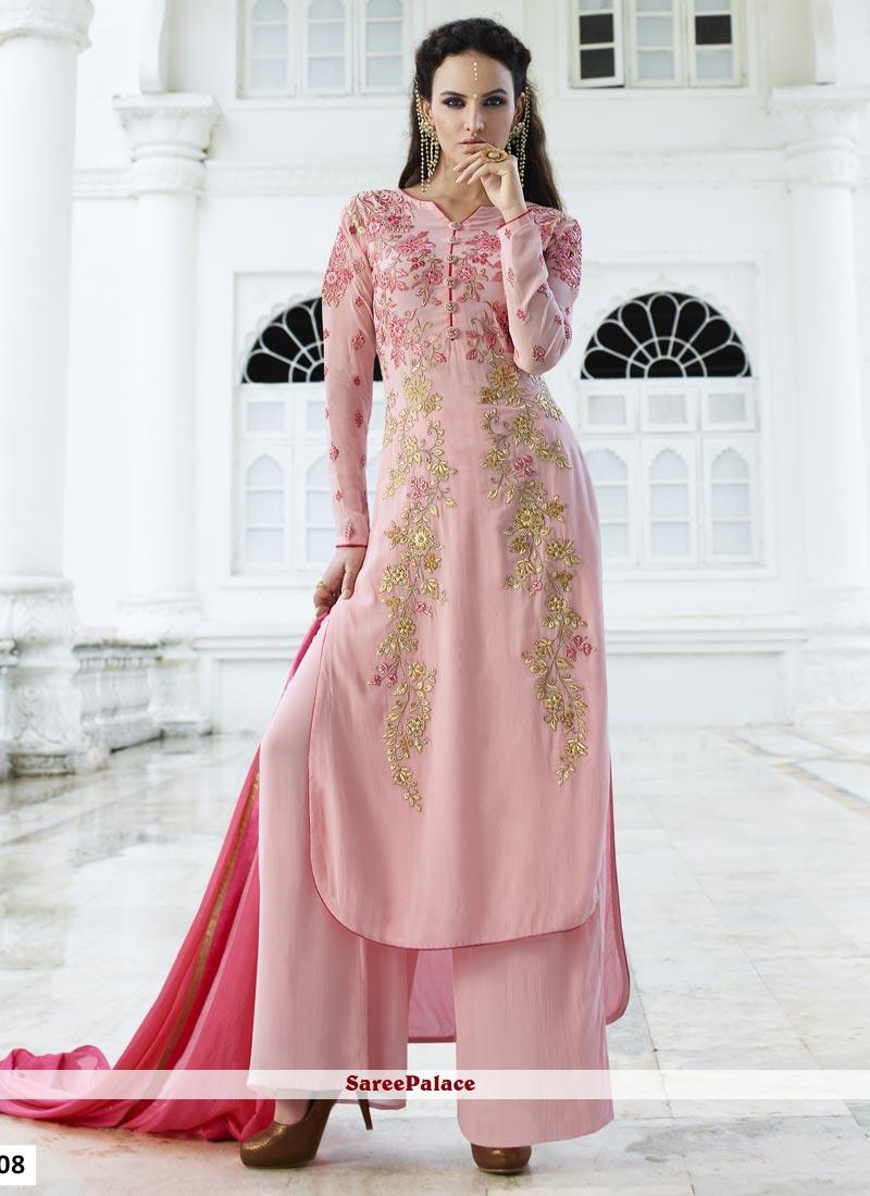 Observable Faux Georgette Resham Work Designer Palazzo Salwar Kameez