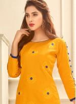 Observable Print Work Yellow Cotton   Churidar Suit