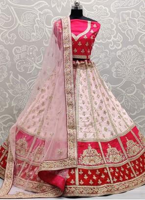 Off White and Pink Engagement Lehenga Choli
