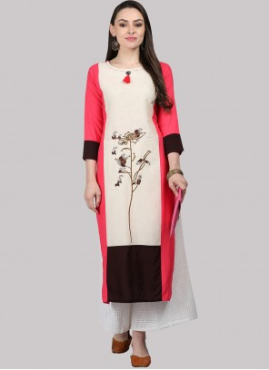 Off White and Pink Party Wear Kurti