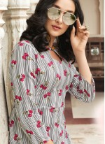 Off White and Pink Rayon Printed Casual Kurti