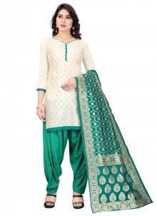 Off White and Rama Designer Patiala Suit