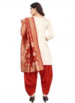 Off White and Red Fancy Tafeta Silk Designer Patiala Suit