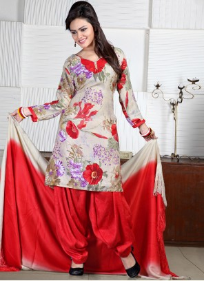 Off White and Red Print Punjabi Suit