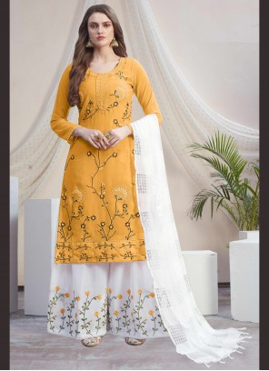 Off White and Yellow Designer Palazzo Suit