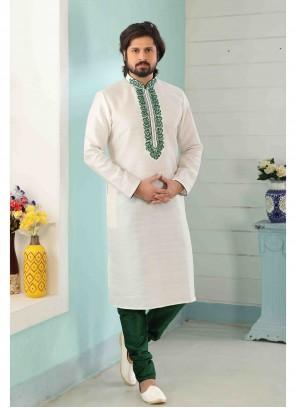 Off White Art Banarasi Silk Kurta Pyjama