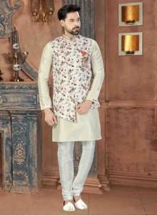 Off White Art Dupion Silk Plain Kurta Pyjama