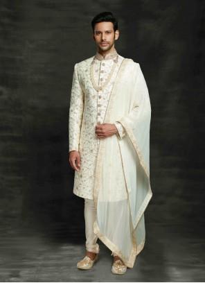 Off White Art Silk Ceremonial Sherwani