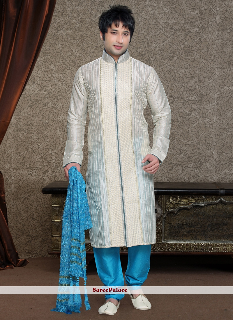 Off White Art Silk Embroidered Work Kurta Pyjama