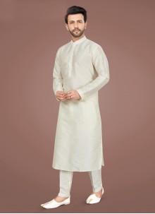 Off White Art Silk Engagement Kurta Pyjama