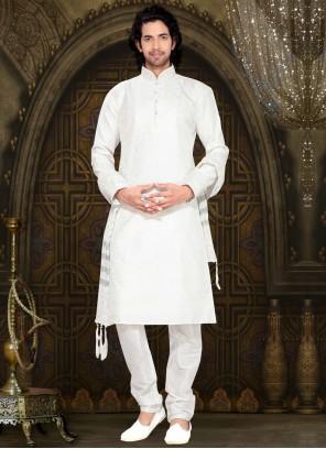 Off White Art Silk Patchwork Work Kurta Pyjama