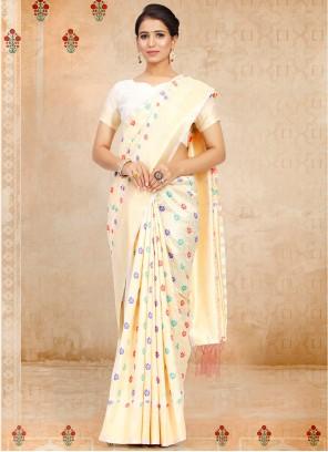 Off White Art Silk Weaving Traditional Saree