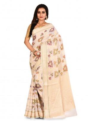 Off White Banarasi Silk Bollywood Saree
