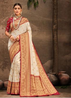 Off White Banarasi Silk Festival Designer Traditional Saree