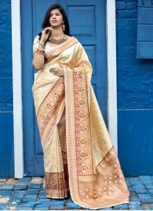Off White Banarasi Silk Sangeet Designer Traditional Saree