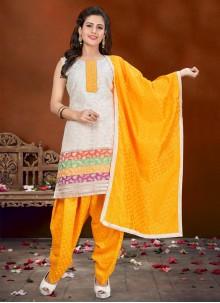 Off White Banglori Silk Designer Patiala Suit