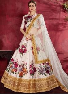Off White Banglori Silk Floral Print Lehenga Choli
