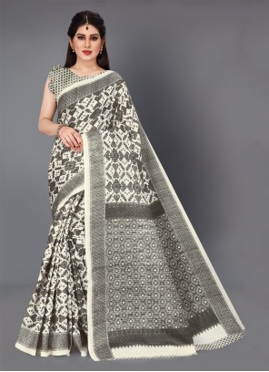 Off White Casual Cotton Silk Trendy Saree
