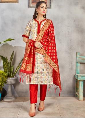 Off White Ceremonial Art Banarasi Silk Pant Style Suit